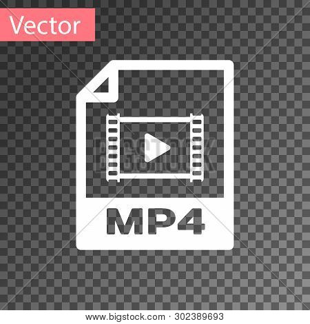 White Mp4 File Document Icon. Download Mp4 Button Icon Isolated On Transparent Background. Mp4 File