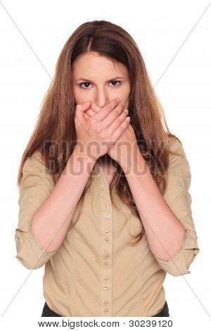 Businesswoman - Speak No Evil Pose
