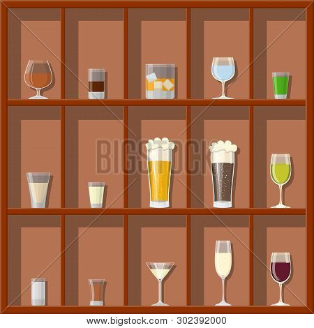 Alcohol Drinks Collection In Glasses On Shelves. Vodka Champagne Wine Whiskey Beer Brandy Tequila Co