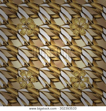Beige And Brown Colors With Golden Elements. Gold Metal With Floral Pattern. Vector Golden Floral Or