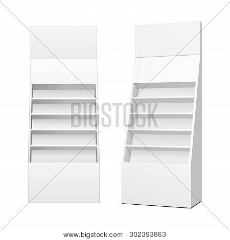 Cardboard Retail Shelves Floor Display Rack For Supermarket Blank Empty. Mock Up. 3d On White Backgr