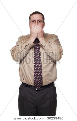 Businessman On White Background In Speak No Evil Poses