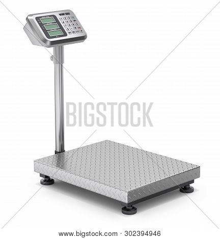 Warehouse Scale On White Background - 3d Illustration