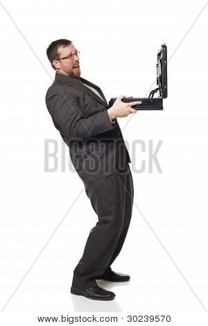 Side View Businessman Holding Up Open Briefcase Cringing At Contents