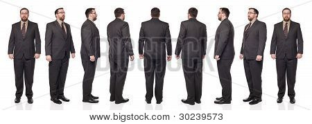 Rotation View Caucasian Businessman 360 Degrees Full Length