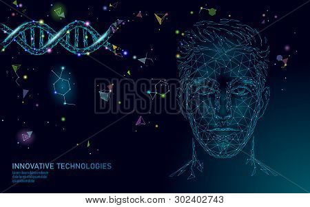 Dna Molecule Treatment Polygonal Science Research 3d. Low Poly Male Face Polygonal Medical Man Healt