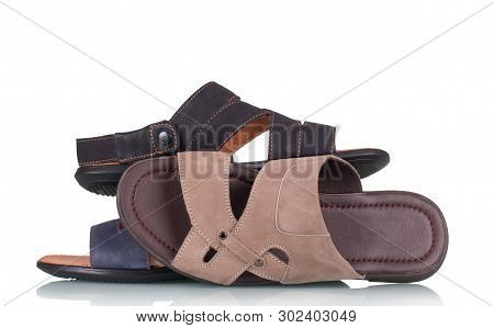 Variety Of Men's Summer Sandals Isolated On White