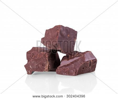 Three Piece Black Natural Chocolate Isolated On White Background