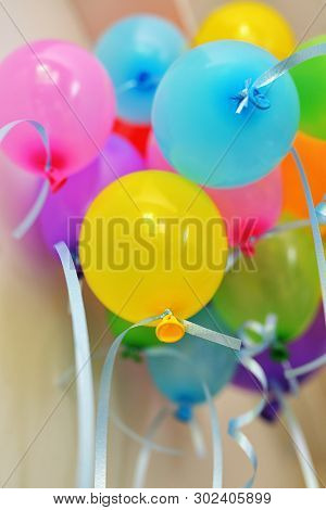 Many Colorful Balloons Under Ceiling, Close Up