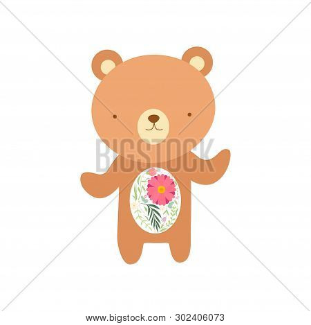 Cute Bear With Tummy Made Of Floral Seamless Pattern, Lovely Animal Cartoon Character Vector Illustr