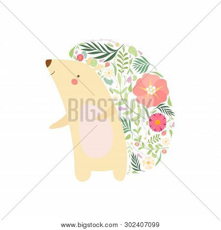 Cute Hedgehog With Prickles Made Of Floral Seamless Pattern, Lovely Animal Cartoon Character Vector