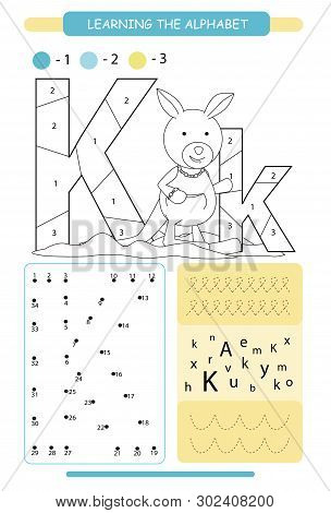 Letter K And Funny Cartoon Kangaroo. Animals Alphabet A-z. Coloring Page. Printable Worksheet. Handw