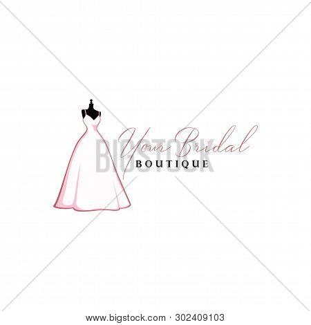 Beautiful Pink Bridal Gown Boutique Logo, Sign, Icon, Mannequin, Fashion, Beautiful Bride, Vector De
