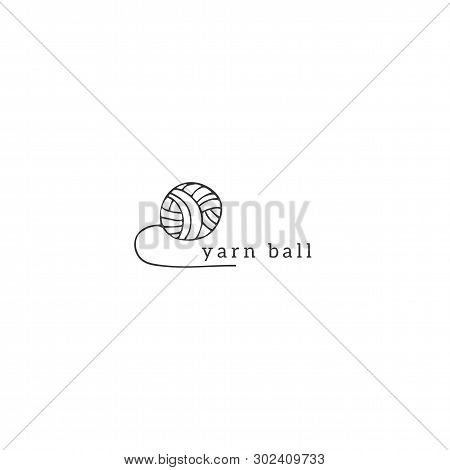 Hand Drawn Vector Logo Template With A Ball Of Yarn. Handmade Theme.