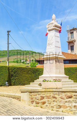 Quincie-en-beaujolais, France - May 07, 2019: Monument To Both World Wars The Village Quincie-en-bea