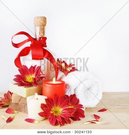 Luxury Set for Bath with Flowers and Candles