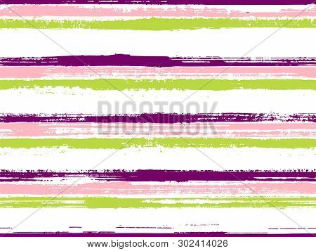 Stripes Geometric Textile Seamless Vector Pattern. Rough Texture Lines Pattern. Geometric Casual Pri