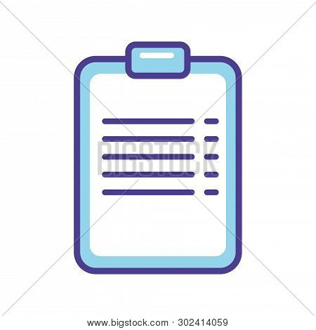 Blue Chek List   Icon Vector Illustration  Isolated On White Background. Medical Icon