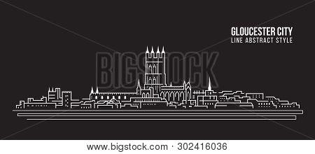 Cityscape Building Line Art Vector Illustration Design -  Gloucester City ,uk