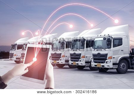 Multiple Exposures Of Business Shipping, Logistics, Industry Background Overall. New Truck Fleet Wit