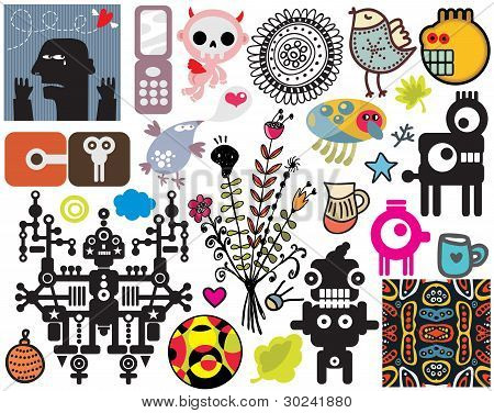 Mix of different vector images. vol.43