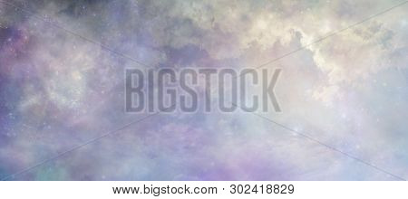 Heavens Above Concept Background Banner - Beautiful Blue Lilac Light Filled Heavenly Ethereal Clouds