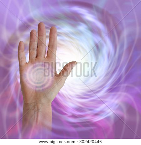 Palm Chakra With Vortex Healing Energy - Female Hand Facing Outwards With A Pink Spiralling Vortex E