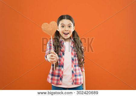Vote For Love. Girl Little Child Hold Heart Symbol On Stick. Like And Support. Valentines Day. Fall