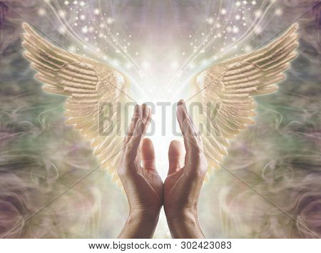 Sensing Angelic Energy - Male Hands Reaching Up Into A Beautiful Pair Of Golden Angel Wings With Whi