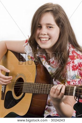 Girl Playing Acoustic Guitar