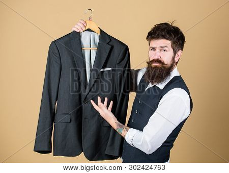Tailored Suit Concept. Fashion For Business People. Custom Made Suit. Man Bearded Fashion Couturier