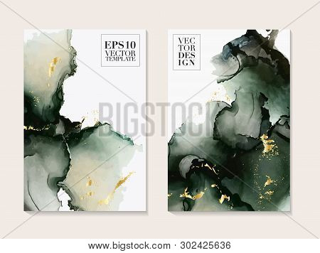 Abstract Liquid Paint In Deep Green Colors. Modern Poster With Alcohol Ink Splashes. Liquid Flow Des