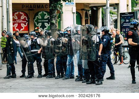 Reims France May 18, 2019 View Of The Rioters And Policemen Fighting Face To Face In The Streets Of