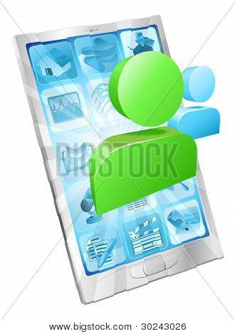 Social media icon coming out of phone screen concept poster