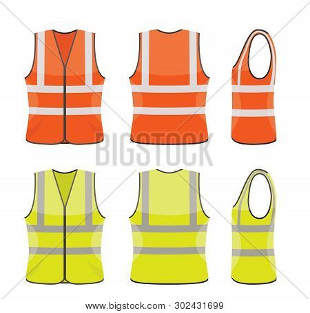 Vector Set Of Orange And Yellow Safety Vests Isolated On White Background. Reflective Safety Vest Ja