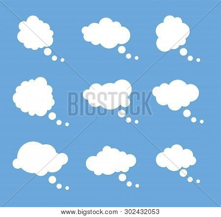 Vector Set Of Thought White Bubbles Isolated On Blue Background. Space For Thinking Or Speech Text.