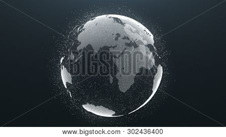 Planet Rotation Earth Particle Global Background. Worldwide Universe Map Sphere Motion Business Concept. Cosmic Globe Scenery Deep Outer Space Exploration Travel Concept 3D Rendering Animation