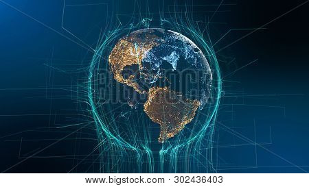 Visible Earth Particle Rotation Technology Concept. Digital Hologram Sight Futuristic Cyberspace Business Background. Abstract Lines Network Grid Outer Space Exploration 3D Rendering Animation