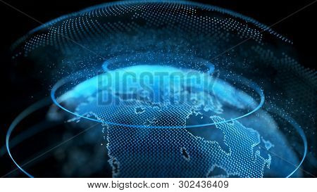 Motion Earth Digital Globe Transparent Surface. Planet Rotation Smaller Object Inside World Map Future Scientific Technology. Business Concept Universe Exploration Concept 3D Rendering Animation