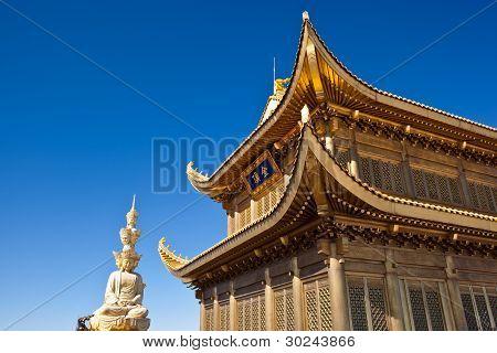 Mount Emei Golden Palace And Statue Of Samantabhadra