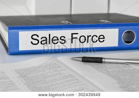A Blue Folder With The Label Sales Force