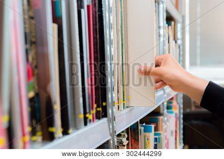 Young Student Picking A Book From The Shelf In The Library. Preparing For Exams, Young Man Searching
