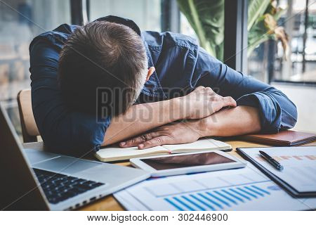 Sleeping Businessman, Tired Senior Businessman Sleeping Having Long Working Day Overworked On Table