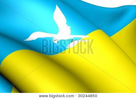Flag of Sopot Poland. Close Up. Front View. poster