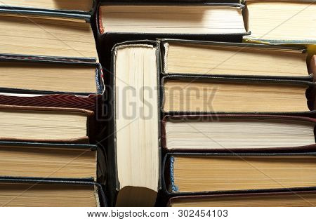 Stack Of Used Old Books, Top View. Education Background. Back To School.