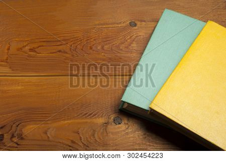 Old Books On Wooden Desk. Back To School. Education Background.copy Space For Text.