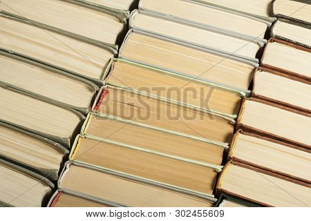 Stack Of Used Old Books, Top View. Education Concept. Back To School.