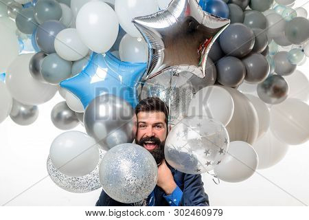Birthday, Preparing To Party, Celebration. Happy Businessman With Helium Balloons. Bearded Man With