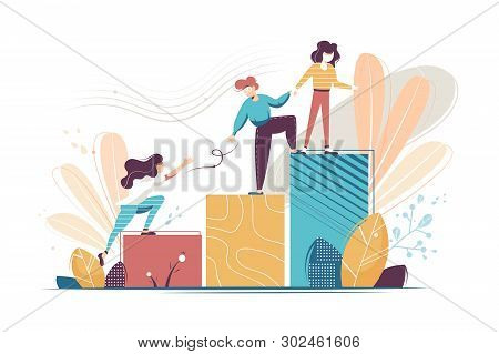 Flat Young Woman And Man Helping And Growing Together. Concept Businessman And Businesswoman Charact
