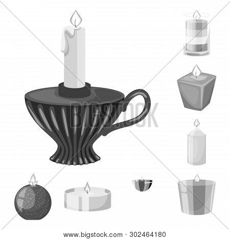 Isolated Object Of Paraffin And Fire  Logo. Collection Of Paraffin And Decoration    Vector Icon For
